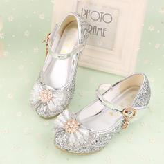 Mädchens Geschlossene Zehe Leder niedrige Ferse Blumenmädchen Schuhe mit Bowknot Strass Klettverschluss