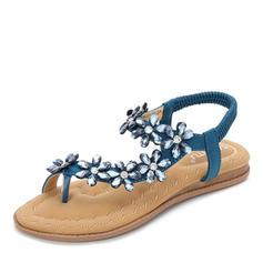 96390e0497c γρηγορη ματια Γυναίκες PU Επίπεδη φτέρνα Σανδάλια Διαμερίσματα Με Λουλούδι  παπούτσια