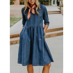 Solid 3/4 Sleeves A-line Knee Length Casual/Denim Skater Dresses