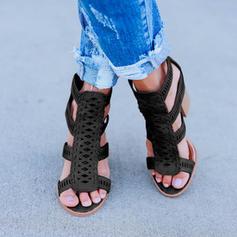 Women's PU Chunky Heel Sandals Pumps Peep Toe With Zipper shoes