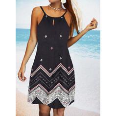 Print Sleeveless Sheath Above Knee Casual/Vacation Slip Dresses