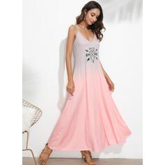 Print/Tie Dye Sleeveless A-line Slip Casual/Vacation Maxi Dresses