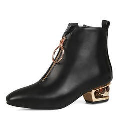 Naisten Keinonahasta Chunky heel Kengät Nilkkurit jossa Vetoketju kengät