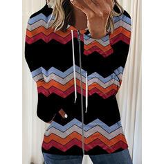 Nadruk Bluza z kapturem Długie rękawy Bluza z kapturem