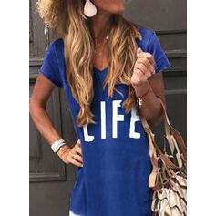 Print/Color Block/Letter Short Sleeves Shift T-shirt Casual Maxi Dresses