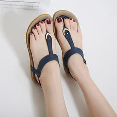 Femmes PU Talon plat Sandales Chaussures plates Chaussons avec Strass chaussures