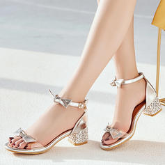 Women's PU Chunky Heel Sandals Peep Toe With Bowknot Imitation Pearl Buckle Jewelry Heel shoes