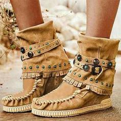 Frauen PU Flascher Absatz Stiefel mit Schnalle Schuhe