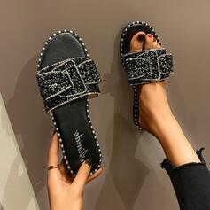 Femmes PU Talon plat Sandales À bout ouvert Chaussons avec Strass Bowknot Paillette chaussures