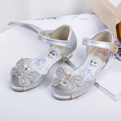 Girl's Leatherette Flat Heel Peep Toe Flats Flower Girl Shoes With Bowknot Velcro Crystal Pearl