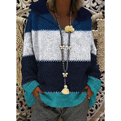 Color Block Chunky knit Hooded Sweaters
