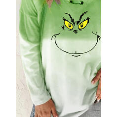 Print Gradient V-hals Lange ærmer Jule sweatshirt