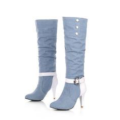 Dla kobiet Dżinsowa Obcas Stiletto Czólenka Kozaki Kozaki do kolan Z Stras/ Krysztal Górski Klamra obuwie