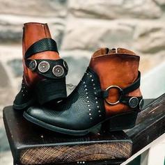 Frauen PU Stämmiger Absatz Stiefel mit Schnalle Reißverschluss Schuhe