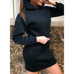 Jednolita Długie rękawy Pokrowiec Nad kolana Mała czarna/Casual Bluza Sukienki