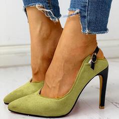 Frauen Veloursleder Stöckel Absatz Absatzschuhe Slingpumps mit Schnalle Schuhe
