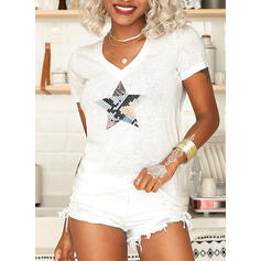 Print V-Neck Short Sleeves Casual Knit T-shirts