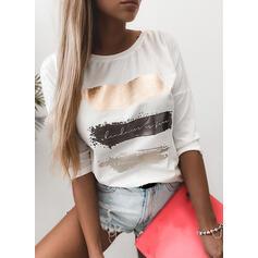 Nadruk Okrągły dekolt Rękawy 3/4 T-shirty