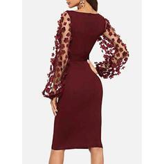 Solid Long Sleeves Bodycon Knee Length Little Black/Party/Elegant Dresses