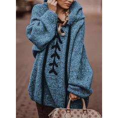Einfarbig Mit Kapuze Übergroßen Freizeit Pullover