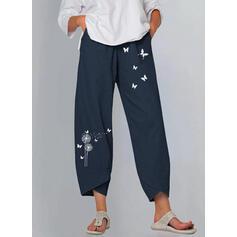 Imprimeu Karahindiba kelebek Keten Pamuk Kırpılmış gündelik Nostaljik Büyük beden Pantolonlar Lounge Pantolon