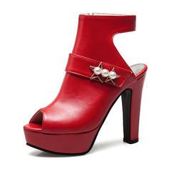 Frauen PU Stämmiger Absatz Sandalen Absatzschuhe Plateauschuh Peep Toe Slingpumps mit Nachahmungen von Perlen Schuhe