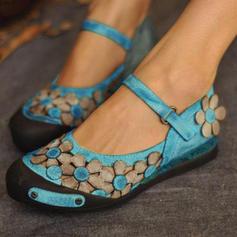 Femmes PU Talon plat Chaussures plates Bout fermé avec Une fleur chaussures