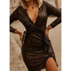 Pailletten/Solide Lange Mouwen Koker Boven de knie Zwart jurkje/Feest/Elegant Wrap Jurken