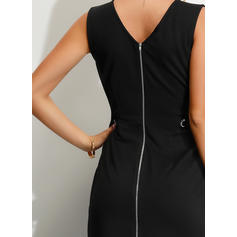 Solid Sleeveless Sheath Knee Length Little Black/Casual/Party Dresses