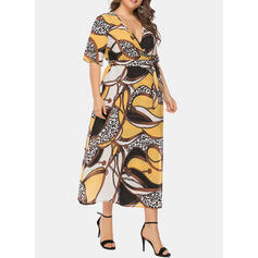 Print 1/2 Sleeves A-line Casual/Plus Size Midi Dresses
