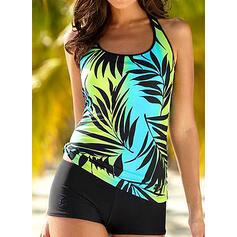 Leaves Print Strap Fresh Plus Size Tankinis Swimsuits