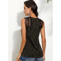 Lace Leopard V-Neck Sleeveless Casual Sexy Tank Tops