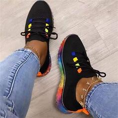 De mujer Tela Tacón plano Planos Top bajo Encaje Zapatillas con Cordones Color de empalme zapatos
