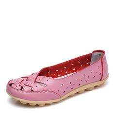 Женский Настоящая кожа Плоский каблук Квартиры с Выдолбить обувь