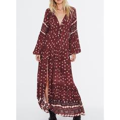 Print Long Sleeves/Puff Sleeves Shift Maxi Casual/Boho/Vacation Dresses