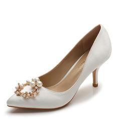 Femmes Soie comme du satin Talon stiletto Escarpins Bout fermé avec Strass Perle d'imitation chaussures
