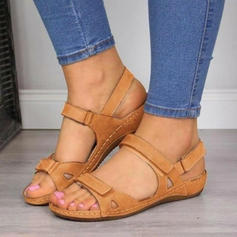 Women's Microfiber Leather Wedge Heel Sandals Peep Toe With Buckle Velcro shoes