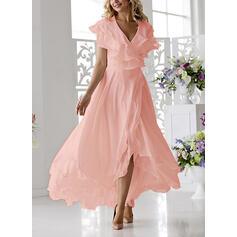Solid Short Sleeves A-line Asymmetrical Elegant Wrap/Skater Dresses