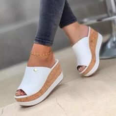 De mujer Juan Tipo de tacón Sandalias Cuñas Encaje Pantuflas Tacones con Color sólido zapatos
