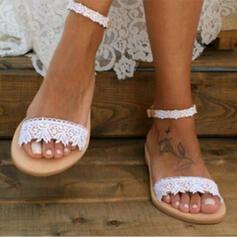 Frauen Kunstleder Flascher Absatz Sandalen Peep Toe mit Stich Spitzen Schuhe
