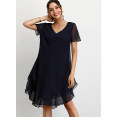 Solid Short Sleeves Shift Asymmetrical Casual Dresses