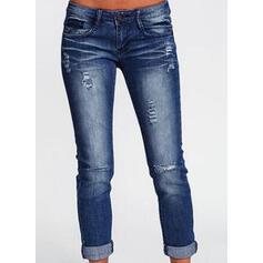 Bolsillos Fruncido Largo Sólido Juan Pantalones