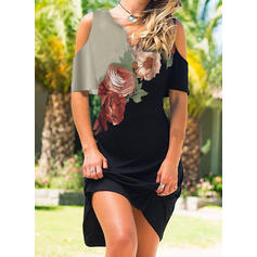 Print/Floral 1/2 Sleeves/Cold Shoulder Sleeve Sheath Above Knee Casual/Vacation Dresses