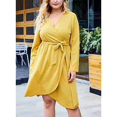 Solid Long Sleeves A-line Knee Length Casual/Vacation/Plus Size Dresses