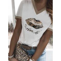 Leopardo Estampado Carta Decote em V Manga Curta Camisetas