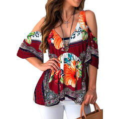 Print Cold Shoulder 1/2 Sleeves Casual Knit T-shirt