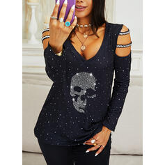 Sequins Beaded Cold Shoulder Long Sleeves Casual Blouses