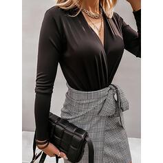 Jednolity Dekolt w kształcie litery V Długie rękawy Elegancki Bluzki