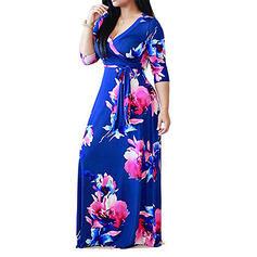 Nadrukowana/Kwiatowy Rękawy 3/4 W kształcie litery A Okrycie/Łyżwiaż Casual/Wakacyjna Maxi Sukienki