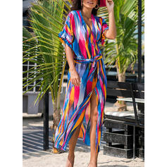 Stripe V-neck Elegant Fashionable Beautiful Cover-ups Swimsuits
